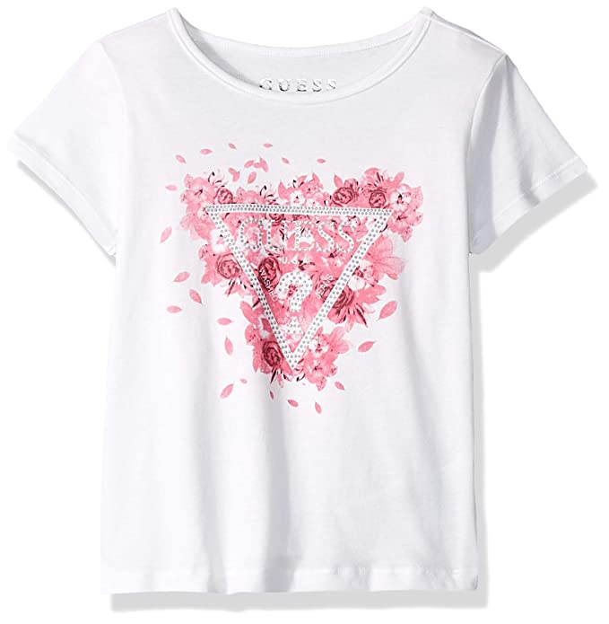 3f8b1db710bb Amazon.com: GUESS Girls' Little Short Sleeve Classic Logo Floral Triangle T- Shirt: Clothing