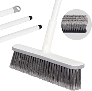 "BOOMJOY Outdoor Push Broom,Soft Carpet Brush for Pet Hair,Fuller Broom with 50""Long Handle,for Garage,Deck,Carpet,Bathroom,Boat,Concrete,Tile,Wall,Patio"