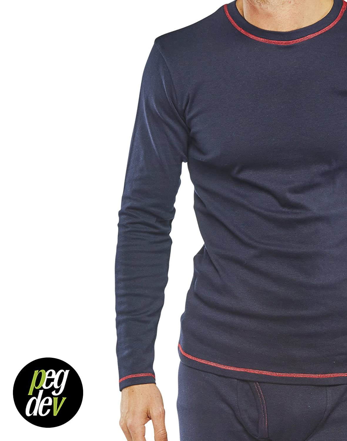 49d050e8761b PDL Fire Retardant Anti-Static Arc Welding Long Sleeved Navy T-Shirt Under  Garment  Amazon.co.uk  Clothing