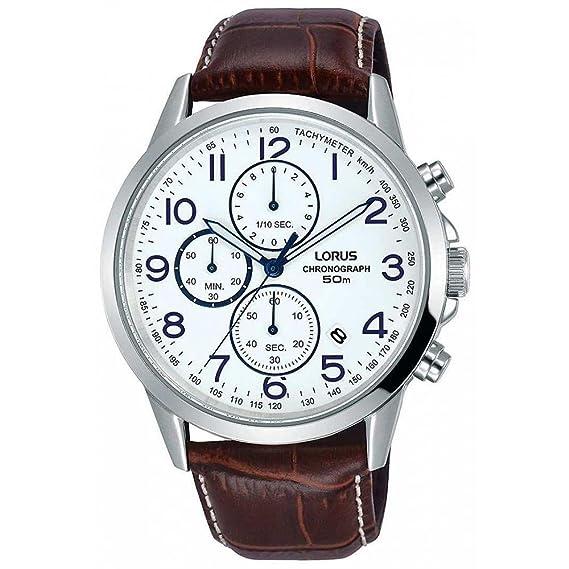 Lorus Reloj de hombre cuarzo 42mm correa de cuero caja de acero RM379EX9