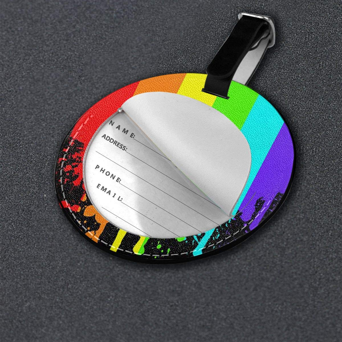 Free-2 Gay Pride Flag Drip Poster Luggage Tag 3D Print Leather Travel Bag ID Card