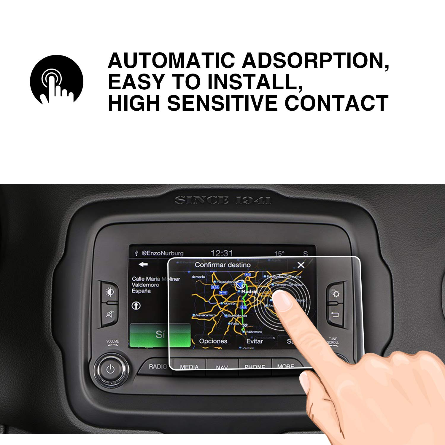 YEE PIN 2014-2017 Jeep Renegade Uconnect 6.5 Inch Car Navigation Screen Protector Glass Vehicle Navigation Glass Toughened Film Control Navigation Display Film Anti-Explosion Toughened Film HXY