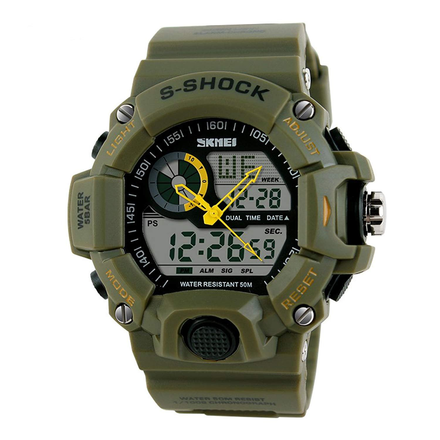 Boy's Chronograph Sports Military Digital Watch Alarm Dual Time LED Resistant Waterproof (Army-Green)