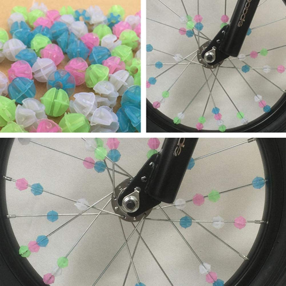 Mix Color ADHG 36Pcs Colourful Bike Spoke Beads Fun Plastic Multi-color Fun Cycle Wheel Spoke Stars Children Kids Bicycle Cycling Clip Decors Great Gift