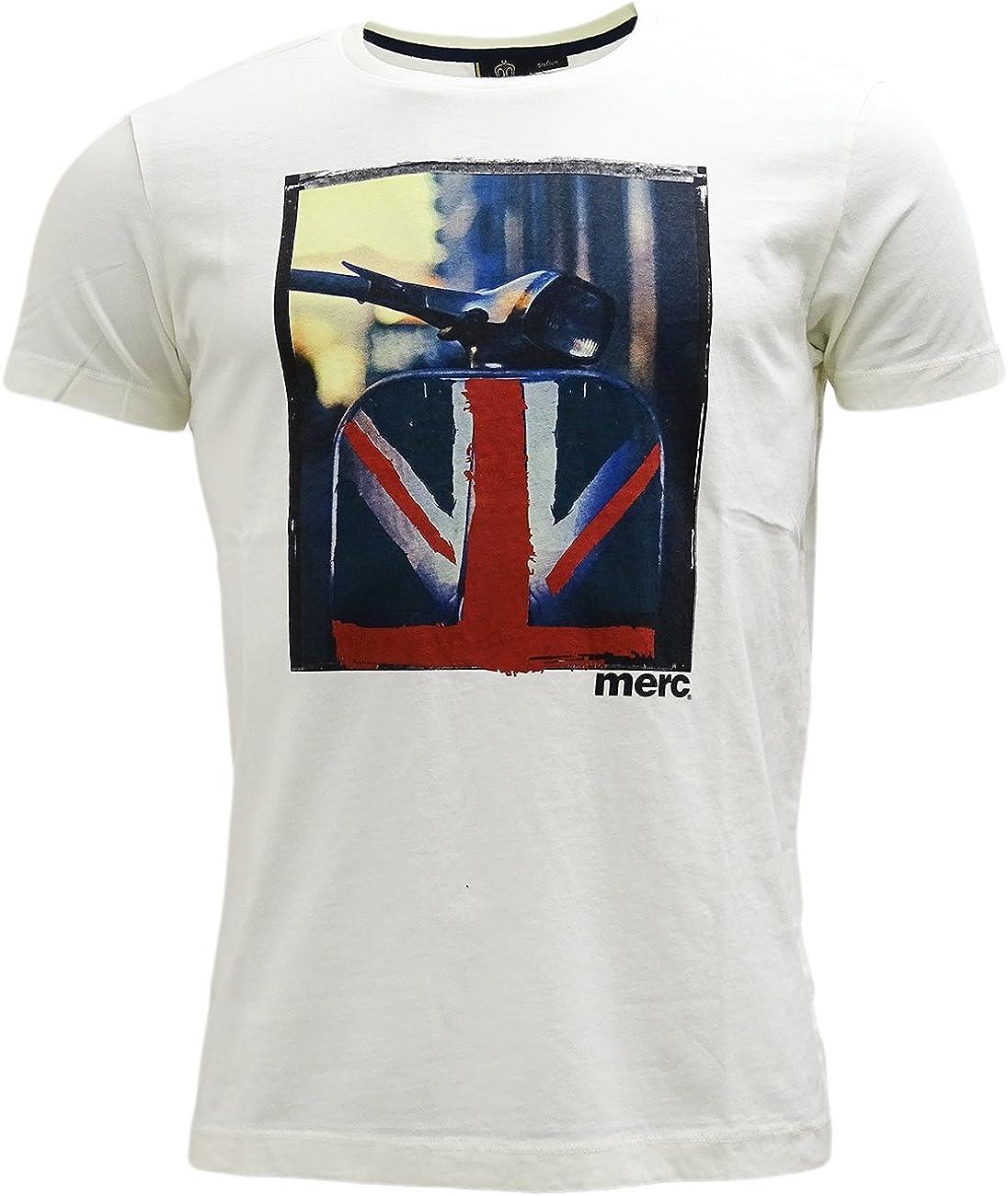 Merc London Spinner Scooter Print Camiseta en Off White Blanco Crema X-Large: Amazon.es: Ropa y accesorios