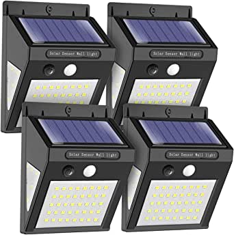 Solar Wall Light Outdoor, MODAR 50 LED Motion Sensor Lights with 120° Wide-Angle Detection 270° Lighting Angle, Waterproof Wireless Bright Solar Security Lights for Garage, Yard, Patio, Pathway, Driveway (4 Pack)