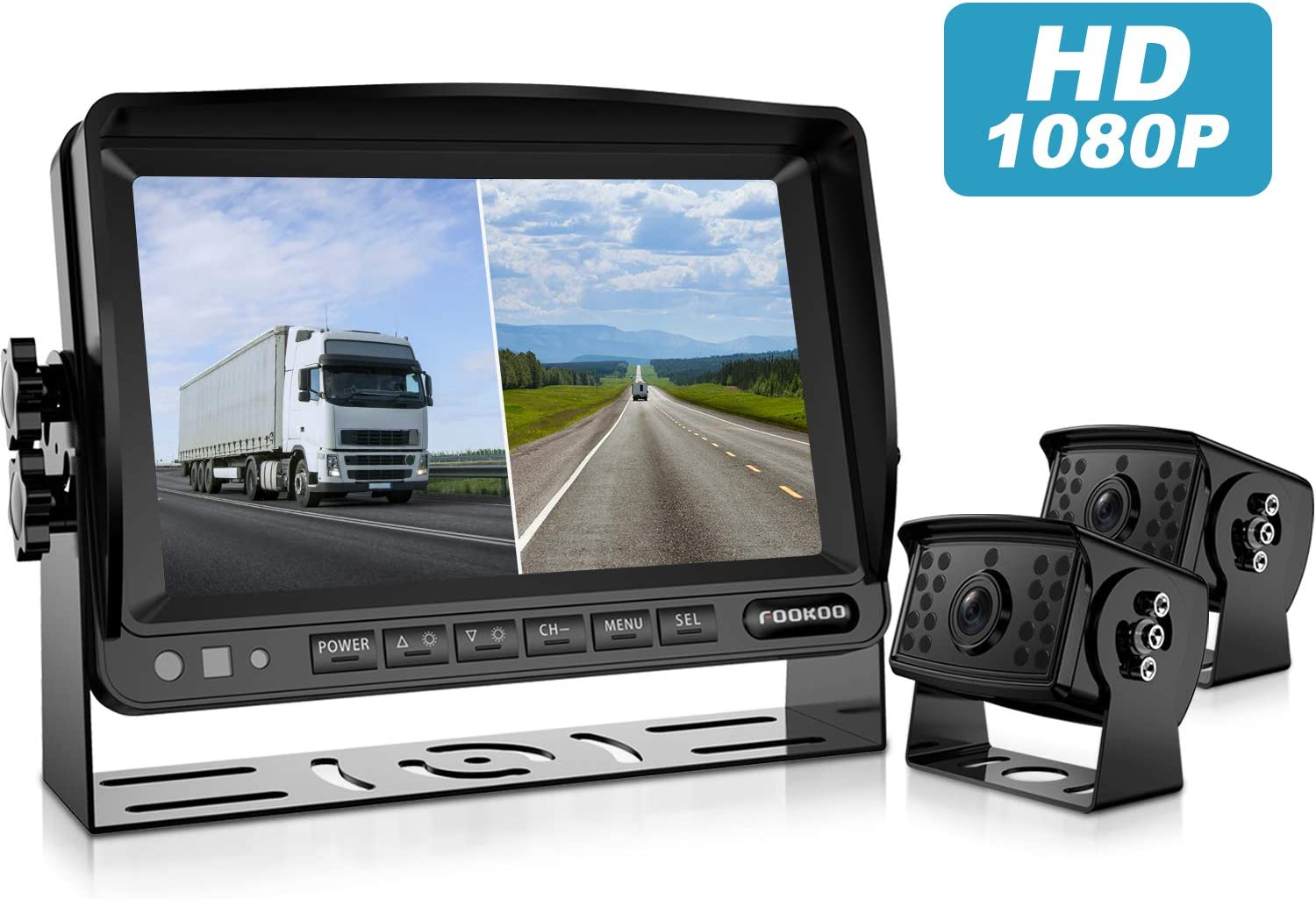 Fookoo Ⅱ HD 1080P Backup Camera System Kit,7'' Split Screen Monitor, IP69 Waterproof Rear View Camera for Truck/Semi-Trailer/Box Truck/RV, Sharp CCD Chip, 100% Not Wash Up (FHD2-Wired)
