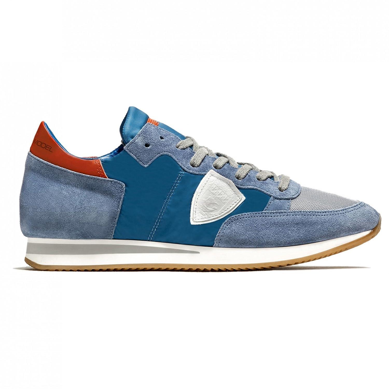6dd8714ff5a0 Philippe Model Herren Sneaker Low Tropez L U Basic Bleu Blanc - Hochwertige  Designer Sneaker Aus Leder und Stoff - Blau Weiß Rot