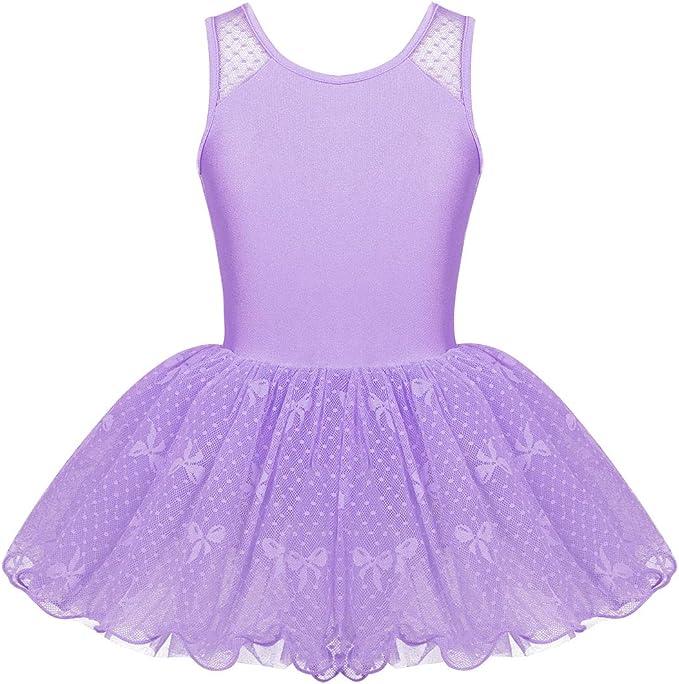 inhzoy Maillot de Danza Ballet Encaje para Niña Vestido de Danza ...