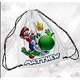 Personalised Drawstring Bag Any Name Mario Swimming School Nursery PE 2