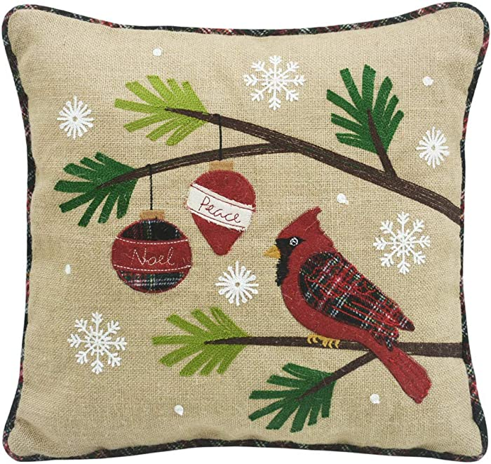 Comfy Hour Winter Holiday Home Collection Winter Christmas Cardinal Pinetree Branch Ornament Snowflake Accent Pillow Throw Pillow Fashionable Cushion, 18