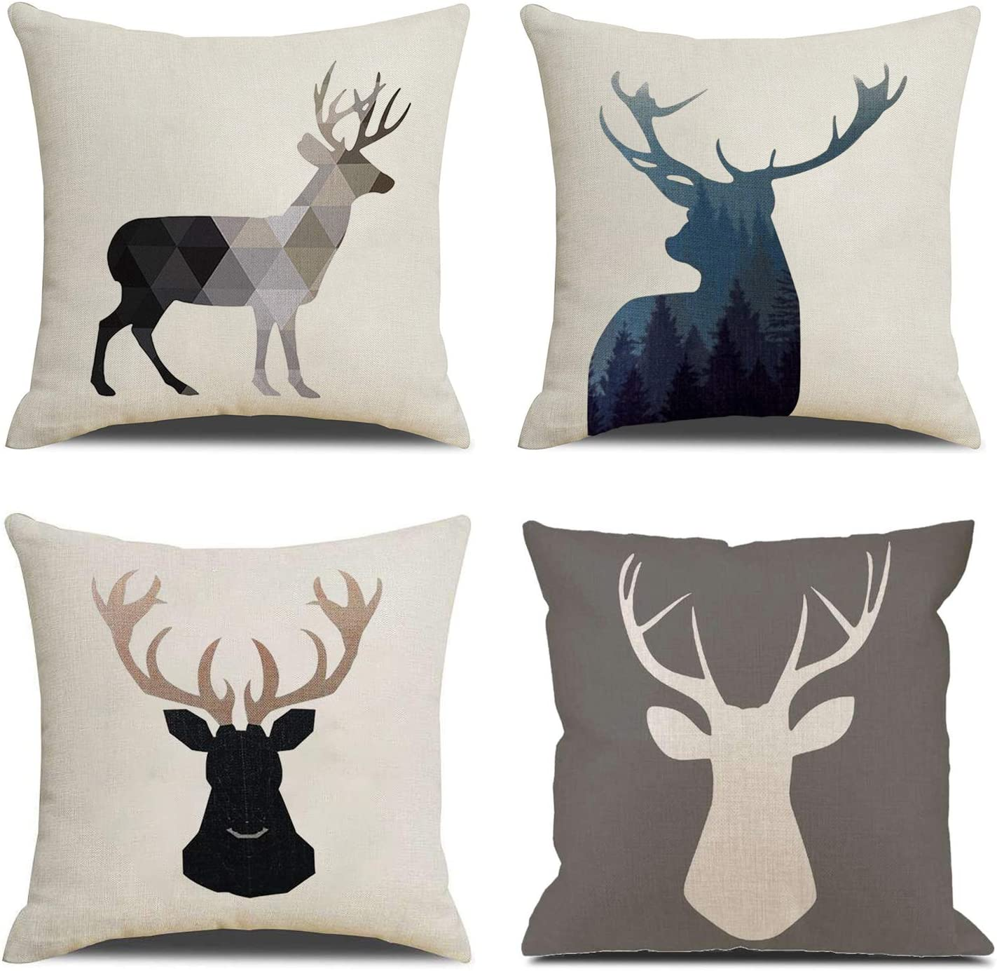 Amazon Com Nydecor Deer Throw Pillow Covers Deer Pillow Cases Decorative Animal Pillowcase Cotton Linen Cushion Cover For Couch Bed Sofa 18x18 Set Of 4 Home Kitchen