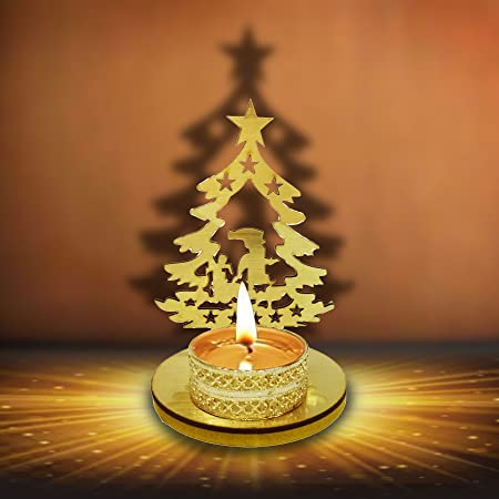 designer christmas decorative shadow tea light candle holder stand in christmas tree shape christmas