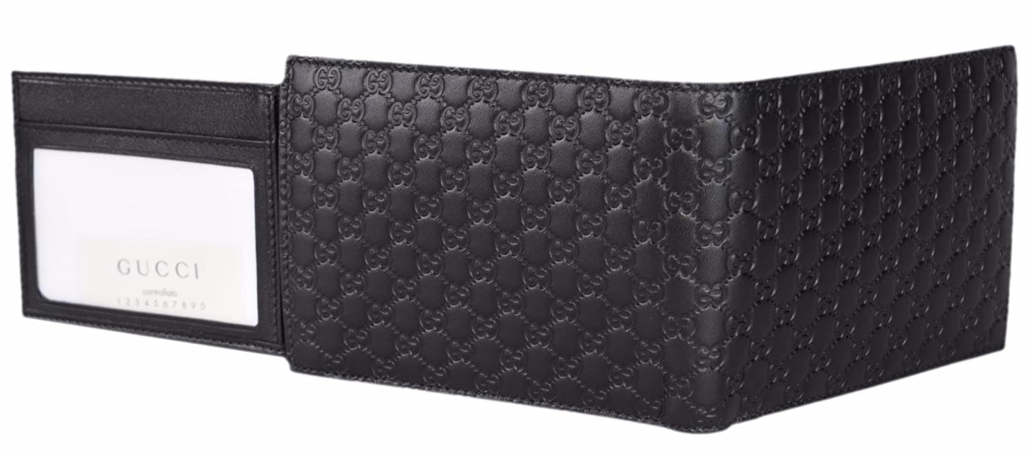 7a0190d5eff Gucci Men s Leather Micro GG Guccissima Trifold Wallet 217044 (Black)   Amazon.co.uk  Clothing