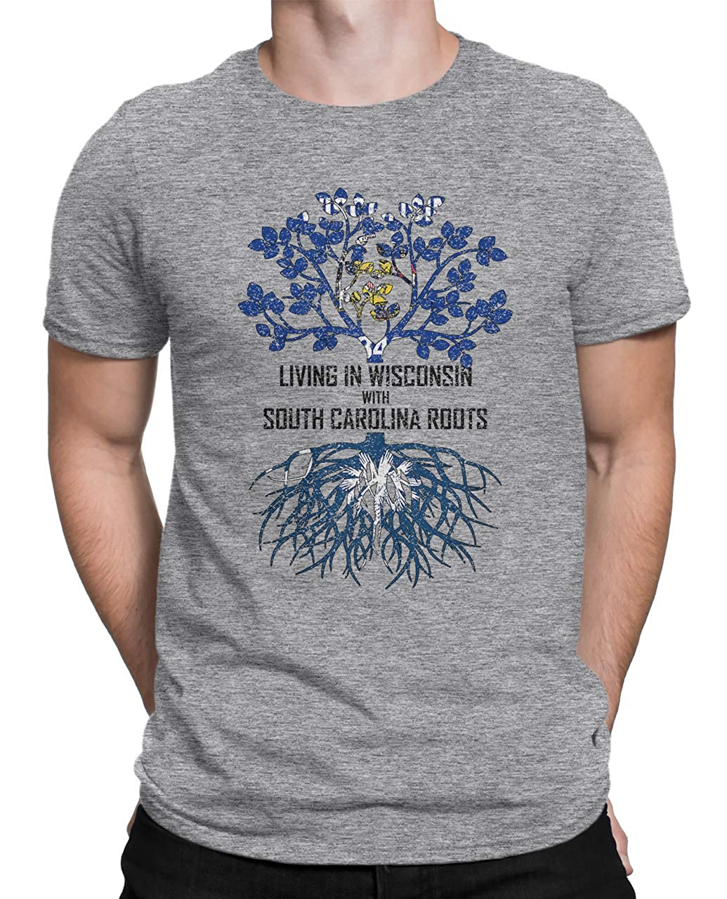 Tenacitee Mens Living in Wisconsin South Carolina Roots T-Shirt