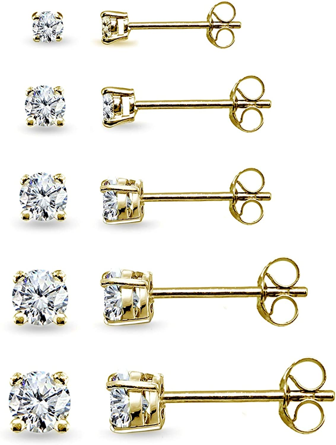 5 Pair Set Sterling Silver Cubic Zirconia Round Stud Earrings 2mm 3mm 4mm 5mm 6mm