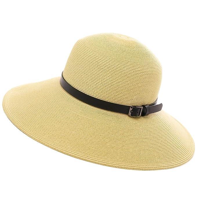b2cc66db45a0a Wide Brim Braided Sun Hat Chin Strap UPF 50+ Protection Womens Panama  Fedora Outdoor Beach
