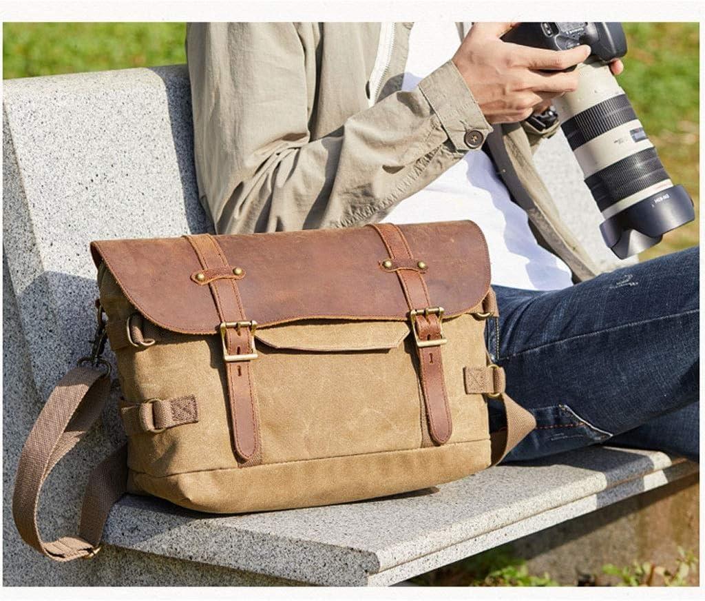 Color : Khaki Retro Waterproof Batik Canvas Bag Shoulder Digital Photography Bag Diagonal Digital Camera SLR Package