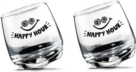 Gilde 2 Juegos Vasos de Whisky Vasos de Ron Vidrio oscilante Vidrio Giratorio en Caja de Regalo Altura 8.5 cm Diámetro 7.5 cm 200ml hogar, ...
