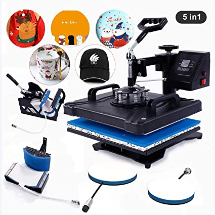 Cotton Phone Case Bags Tablecloth Mouse Pad 360Degree Swing Away Heat Transfer Machine Hot Pressing Vinyl Digital Sublimation for T-Shirt 12x15 Heat Press Machine for T-Shirts 5 in 1