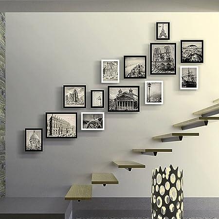 Marcos de Fotos Escalera Foto Pared Sala de Estar Dormitorio Sofá Entrada Pared 13 Cuadro Combinación de Marcos (Color : 2#): Amazon.es: Hogar
