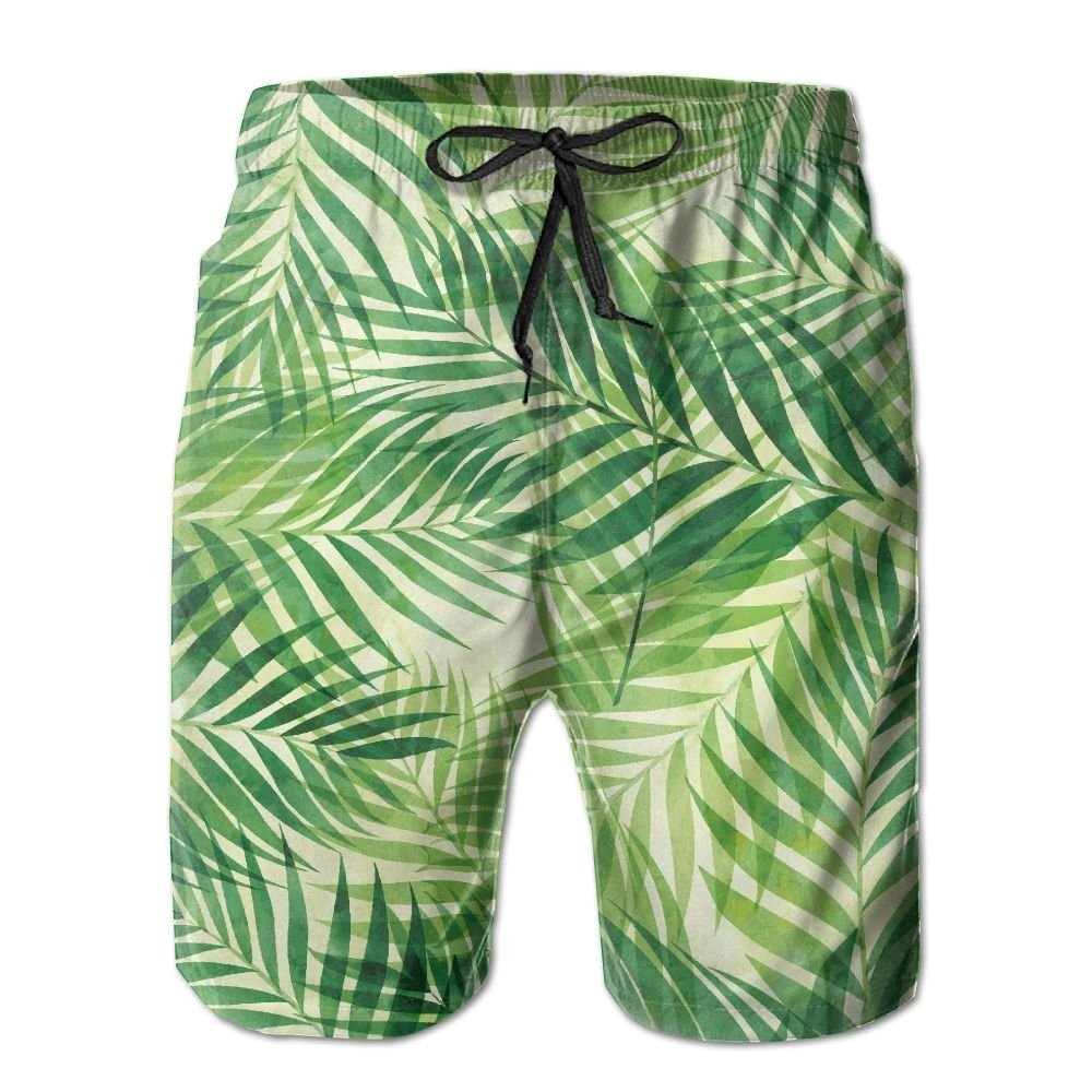 Watercolor Palm Leaves Oil Hunting Home Cute Designer Short Beach Shorts