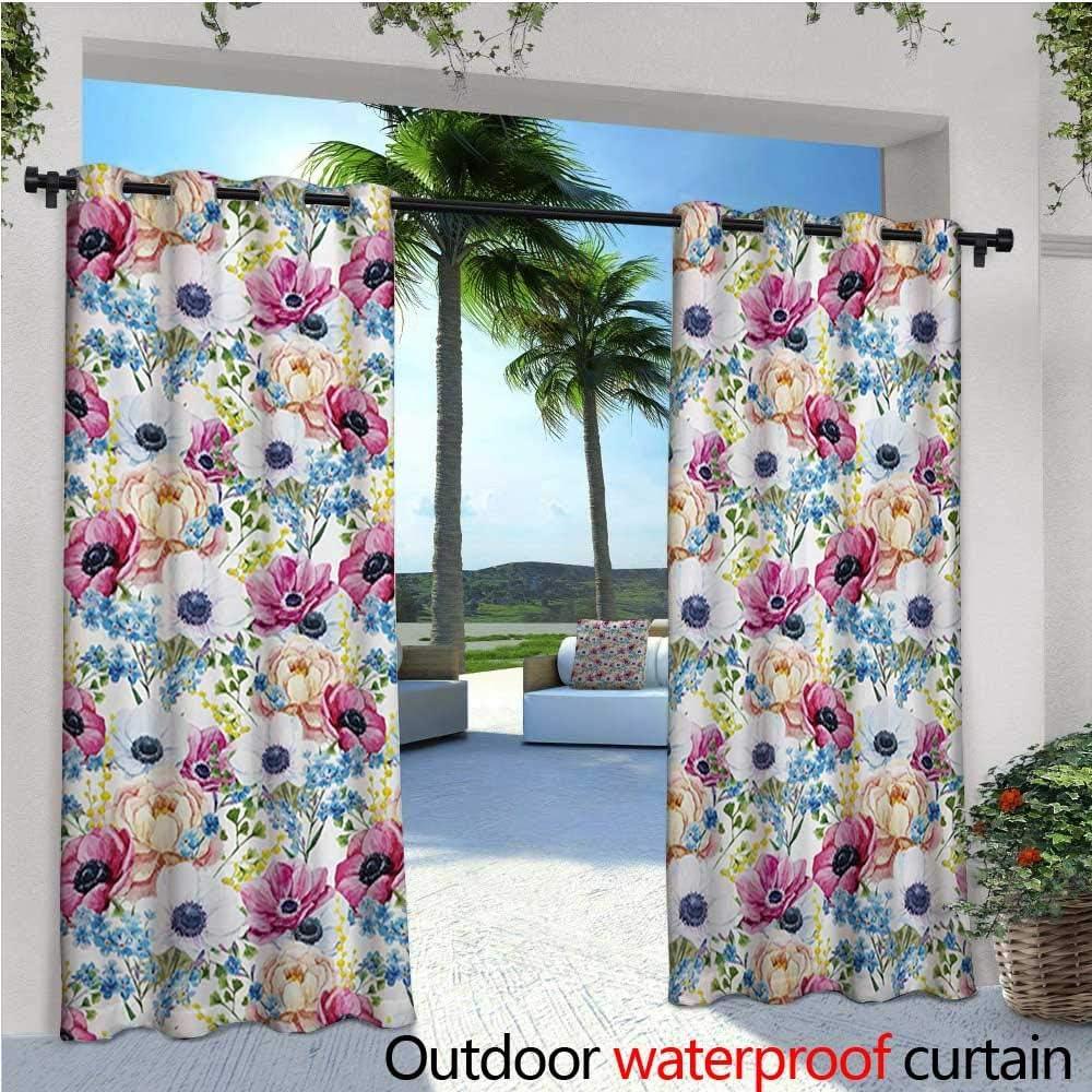 Homehot - Cortina de privacidad para exteriores, para pérgola, helechos tropicales con flores, arreglos florales hawaianos exóticos, floración natural, aislante térmico, repelente al agua, cortina para balcón, espuma de mar, color rosa: