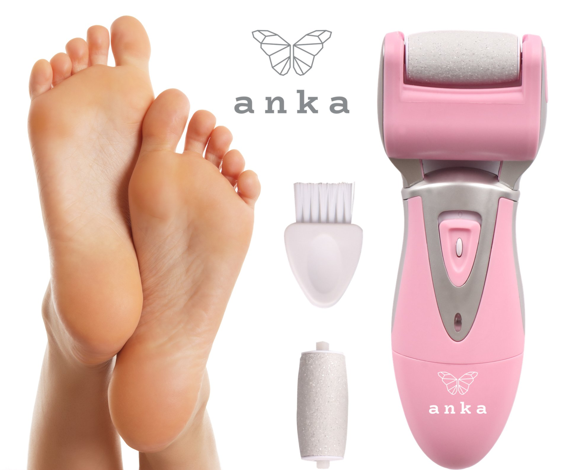 **70% Off Summer Sale ** Rechargeable Pedicure Foot File - Electric Callus Remover & Foot Grinder for Rough & Dead Skin for Professional Home Spa (Wet or Dry Feet) by Anka (Image #1)