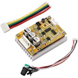 DROK BLDC DC 5-36V Brushless Sensorless Motor Control Board Motor Driver Regulator Monitor 350W High Power DC Motor Speed Controller Module with Heat Sink, Control Switch