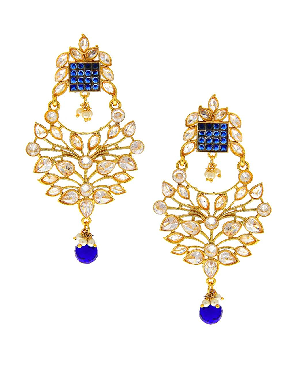 Anuradha Art Blue Colour Wonderful Studded Sparkling Stone TraditionalEarrings For Women//Girls