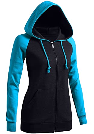 68277bcac0d4 Amazon.com  CLOVERY Women s Casual Hoodie Raglan 2-Tone Zip-up ...