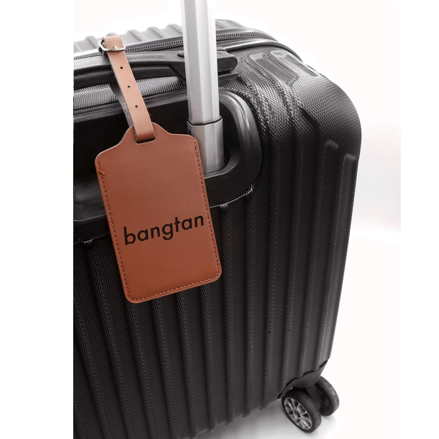 Hallyu Kpop Bts Bangtan Engraved Synthetic Pu Leather Luggage Tag For Any Type Of Luggage Handcrafted By Mastercraftsmen London Tan - Set Of 2 - United States Standard
