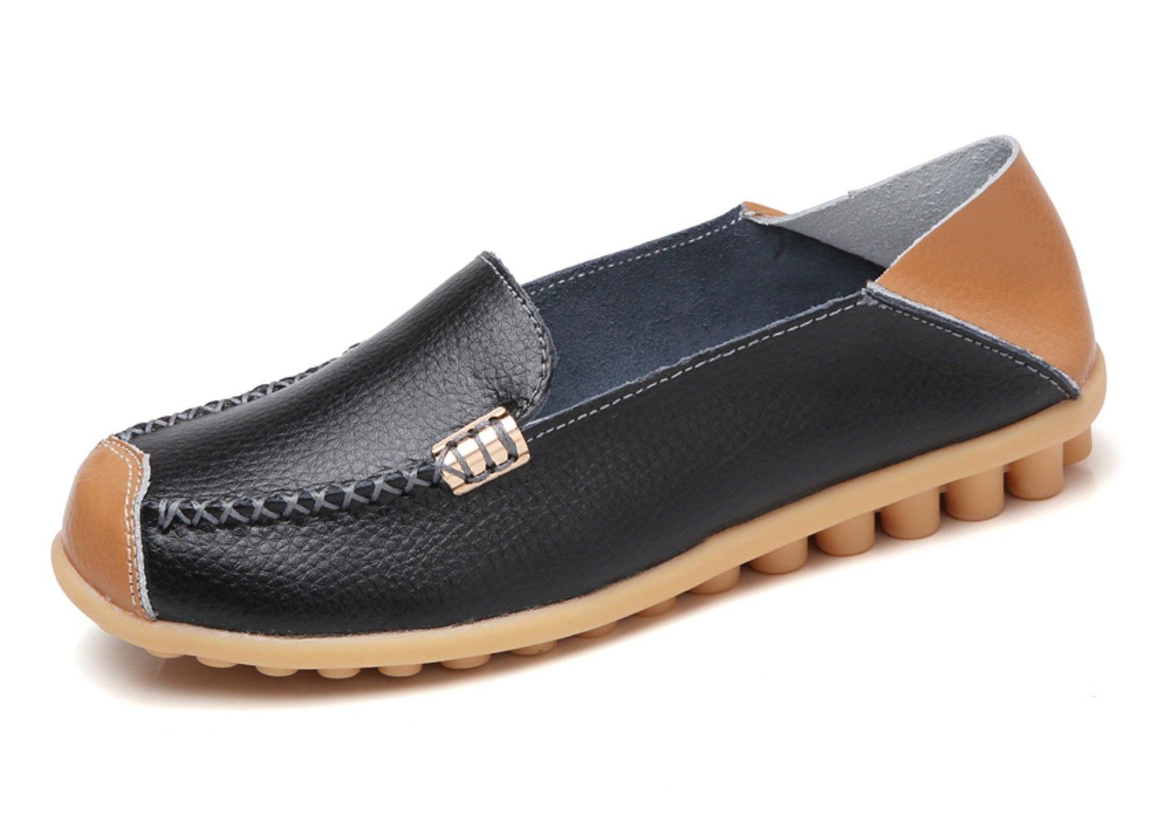 VenusCelia Women's Comfort Walking on Air Flat Loafer(8 B(M) US,Black)