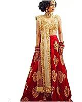 C J Enterprise Women's Silk Lehenga Choli (Mc1001,Red,Free Size, Semi-Stitched)