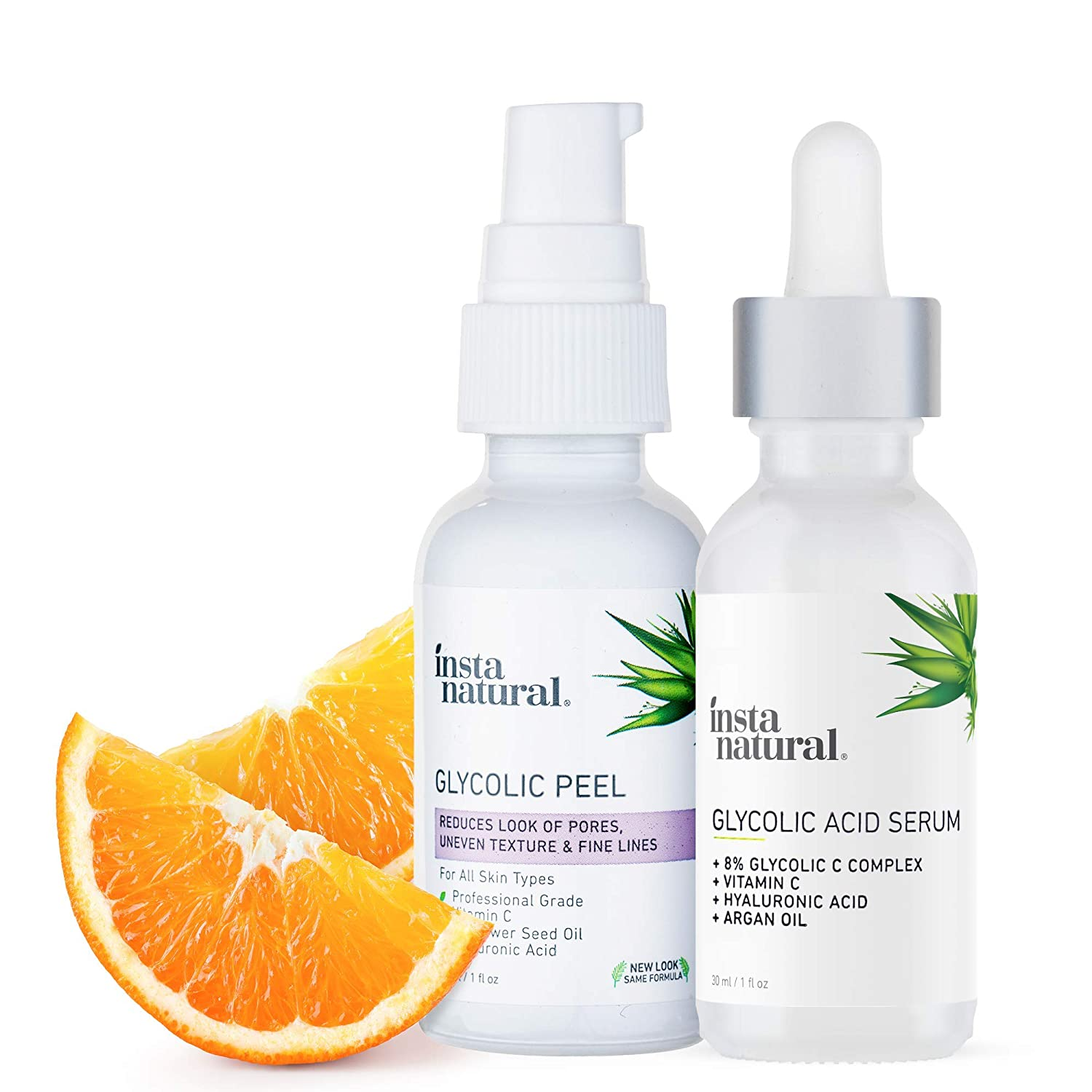 Glycolic Acid Serum & AHA Peel Bundle - Blackhead & Blemish Remover - Advanced Exfoliation Treatment to Reduce Pores, Wrinkles, Discoloration & Scars - With Vitamin C & Hyaluronic Acid – InstaNatural…