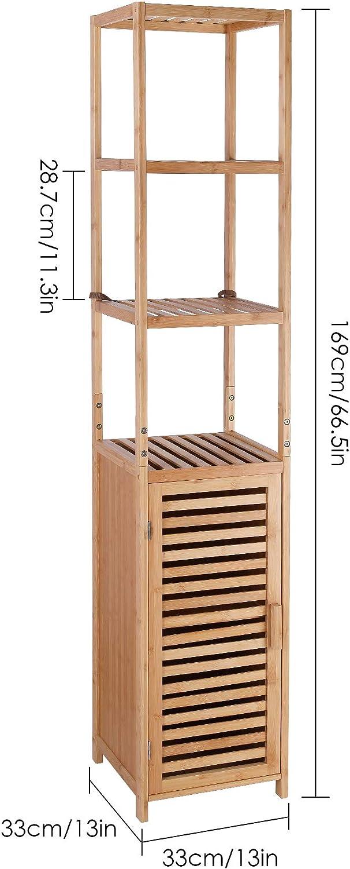 Homfa Bambus Standregal schmal Badregal verstellbar Aufbewahrungregal mit 3 Ablagen B/ücherregal mit schrank f/ür K/üche Wohnzimmer Badezimmer 33x33x169cm