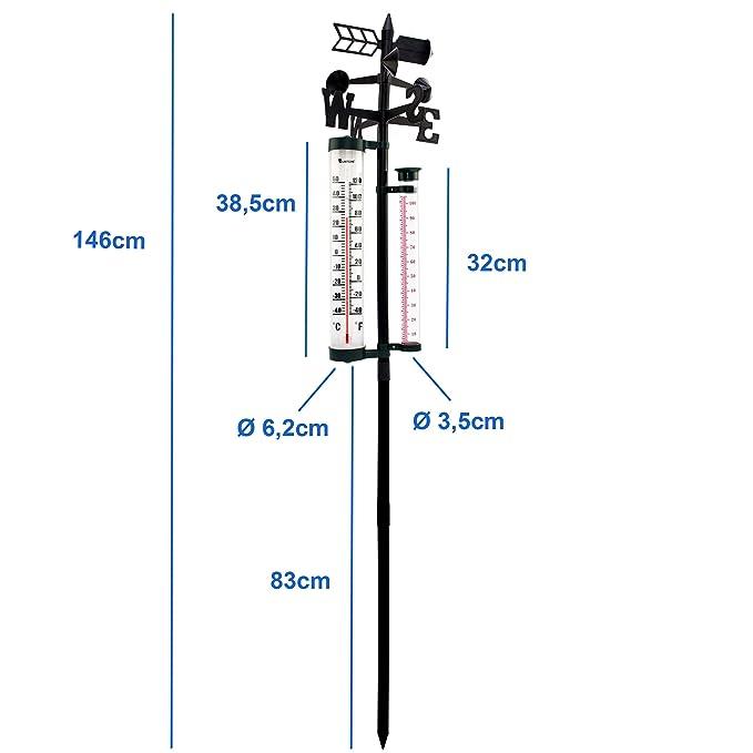 Wetterstation Regenmesser Niederschlag Windrichtung Anzeiger inkl Thermometer