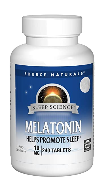 Source Naturals Sleep Science Melatonin 10mg Promotes Restful Sleep and Relaxation - Supports Natural Sleep/