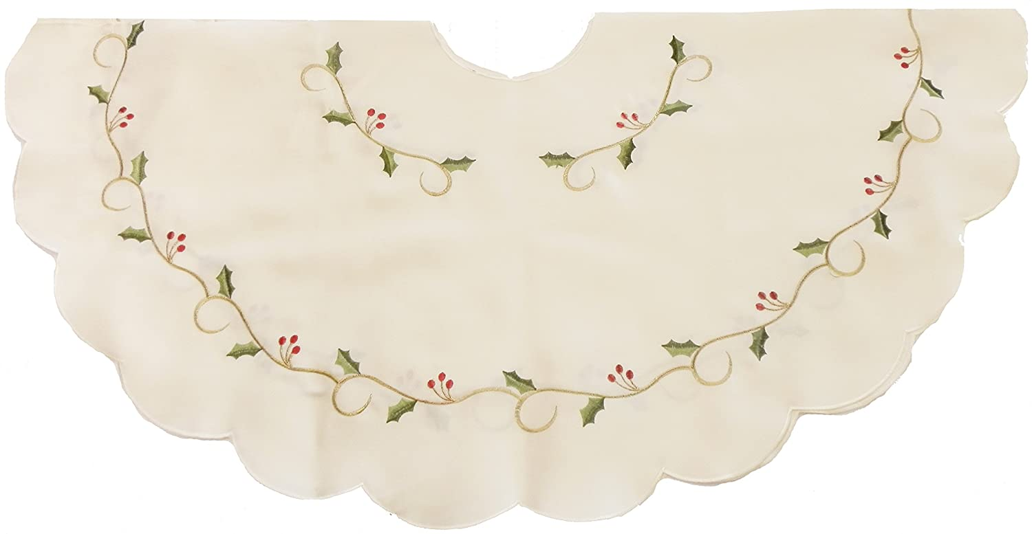CREAM CHRISTMAS TREE SKIRT WITH GREEN HOLLY VINE EMBROIDERY, IDEAL FOR COVERING UP THE BASE OF THE TREE (HOLLY VINE CREAM 14087)