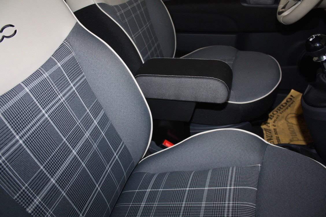 filocar Design Reposabrazos para Fiat 500 Tejido Original con Compartimento Integrado