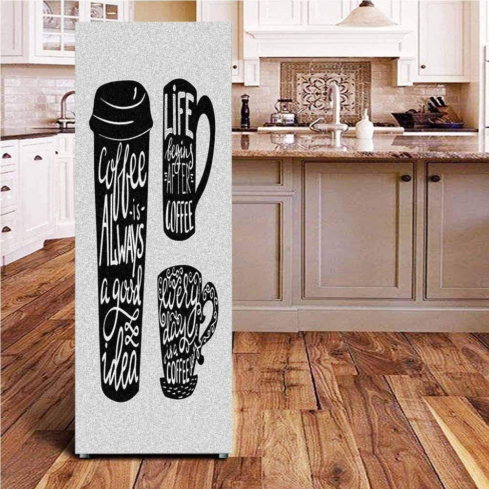 Angel-LJH Coffee 3D Door Fridge DIY Stickers,Quotes About Coffee with Take Away Mug Cup Silhouette Drinking Addiction Theme Door Cover Refrigerator Stickers for Home Gift Souvenir,24x59
