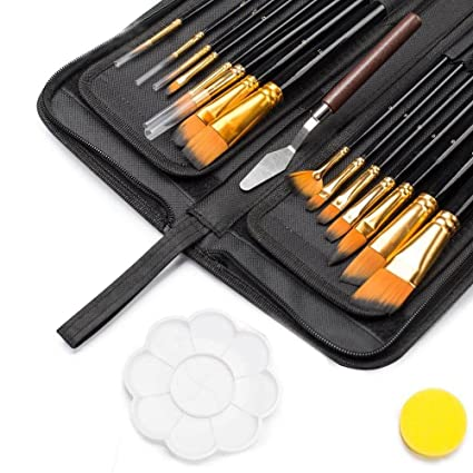 Image result for Artist Paint Brush Set – 15 Different Shapes & Sizes – FREE Painting Knife & Watercolor Sponge – No Shed Bristles – Wood Handles – For Body Paint, Acrylics & Oil
