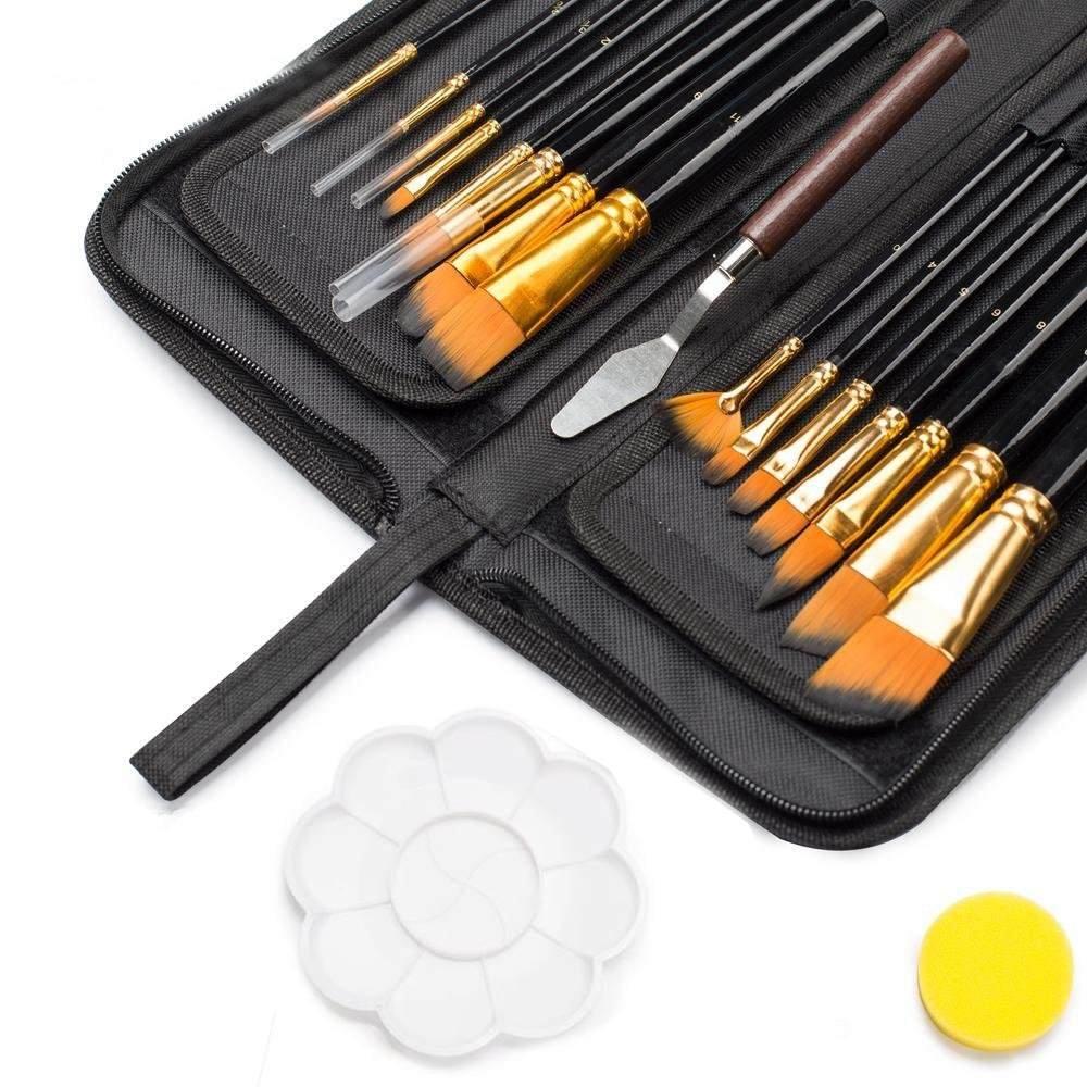 Shuttle Art Paint Brush Set, 18 Pack Different Brush Shapes & Sizes Bonus FREE Painting Knife & Watercolor Sponge No Shed Bristles Wood Handles For Artist Body Paint, Acrylics, Oil