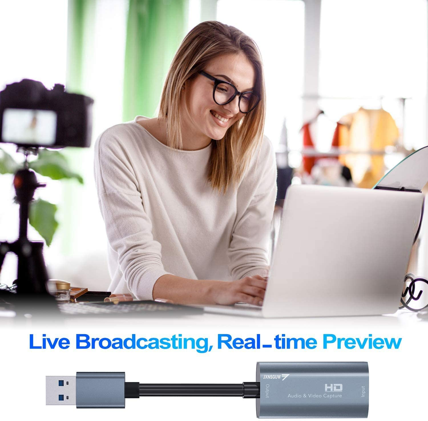 HDMI Video Capture Card Streaming Teaching Video Conference Live Broadcasting Compatible with VLC//OBS//Amcap USB2.0 1080P 30fps Record via DSLR Camcorder Action Cam for High Definition Acquisition