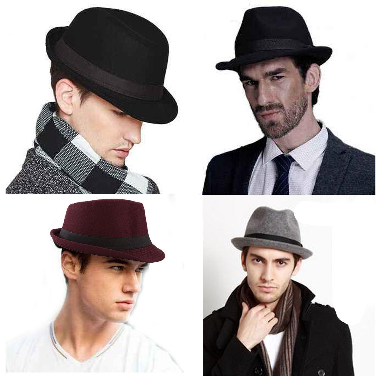 Unisex Classic Manhattan Fedora Hat Black Band Fashion Casual Jazz Wool Cap (Grey) by Faleto (Image #7)