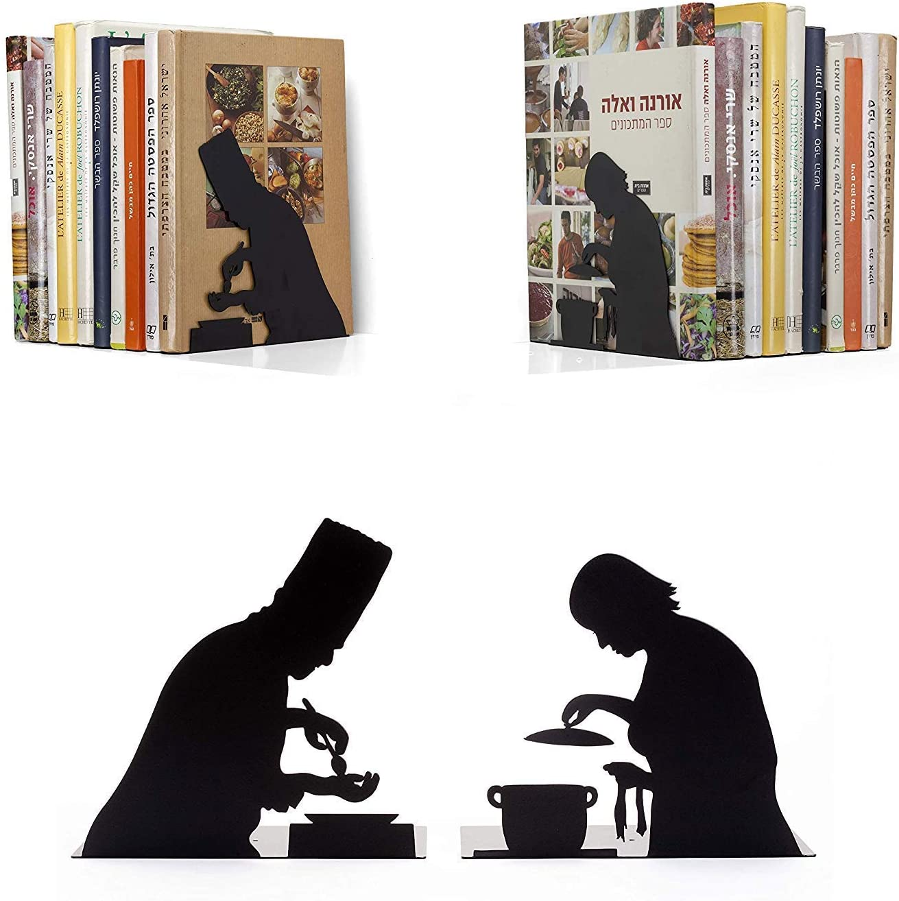 Artori Design by The Book Book Ends - for Cook Books - Decorative Black Metal Book End - Kitchen Bookends - Cooking Books Book Stoppers - Gifts for Chefs – Cookery Books Book Holder