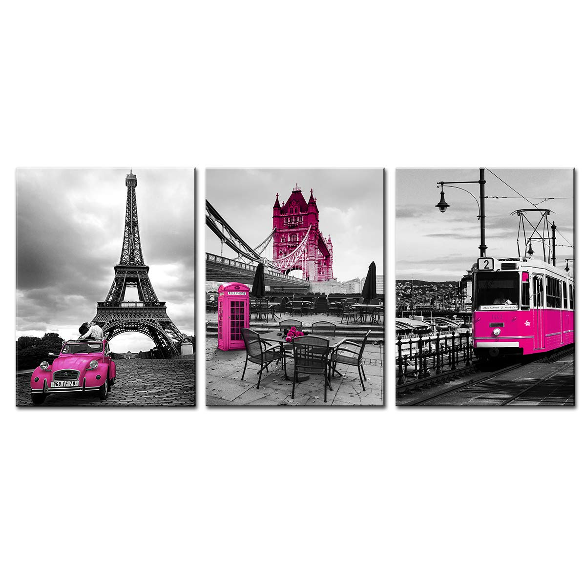 sunfrower Dark Pink Car Canvas Home Decor Print Wall Art for Living Room Rosy Paris Building London Bridge Tram Falling in Love Painting Picture Framed Decoration 12 × 16inches x 3 Sets