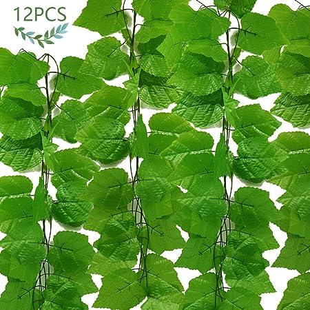 JUSTIDEA 12pcs Enredadera Artificial Plantas de Plastico Colgantes Hiedra Verde Hojas Interior y Exterior Guirnalda Decoración Balcón Ventana Boda Jardín Valla 90Ft: Amazon.es: Hogar