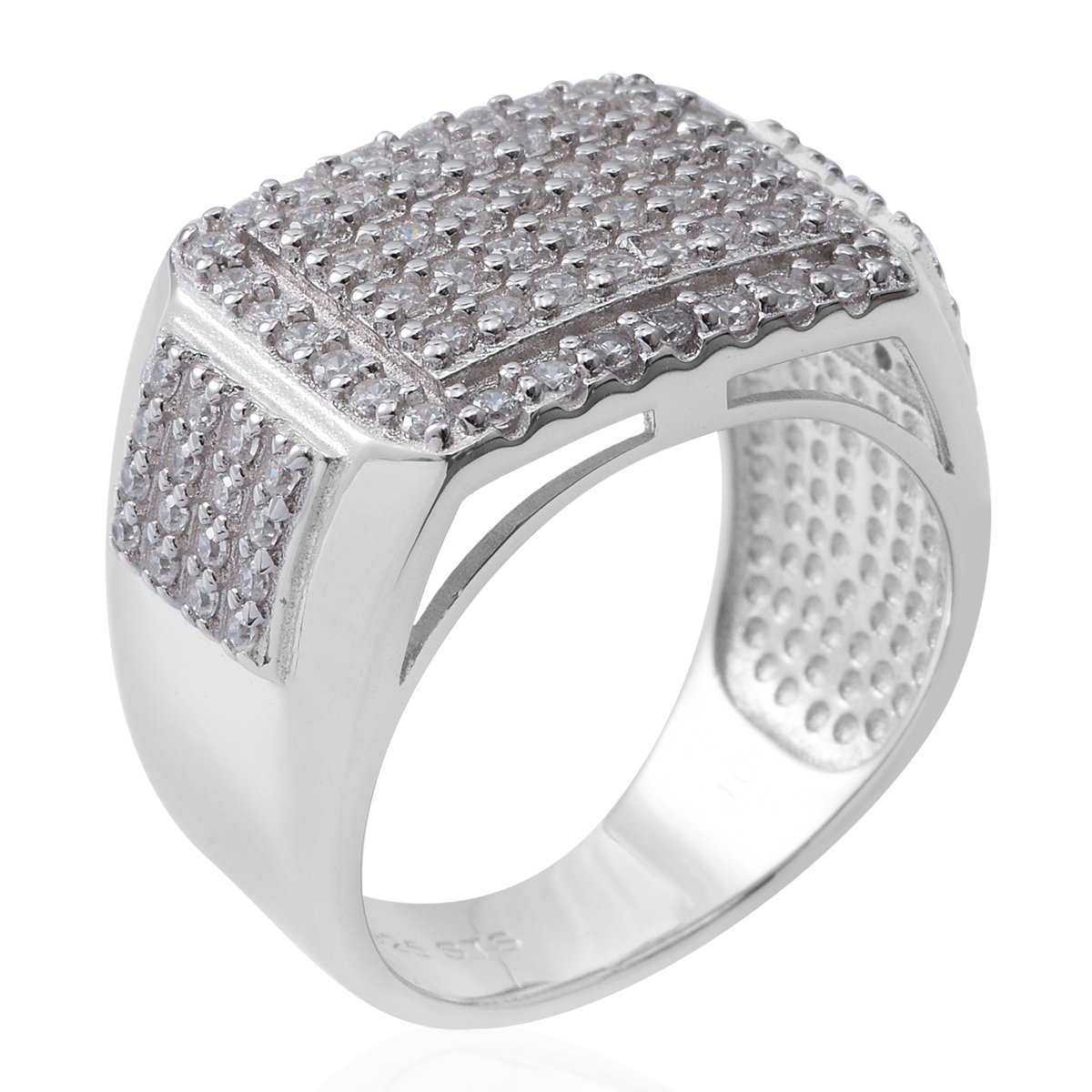 925 Sterling Silver 1.9 Cttw Round Cubic Zirconia Men's Fathers Day Gift Ring Size 10 by Shop LC (Image #3)