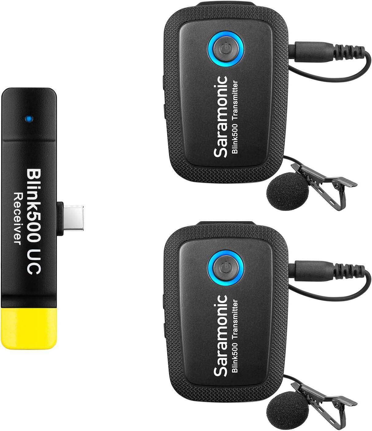 Saramonic Blink500 B6 Sistema de micrófono inalámbrico lavalier ultracompacto de 2.4GHz con receptor USB tipo C sin batería Plug & Play para Samsung Galaxy, LG,Google y otros dispositivos tipo USB